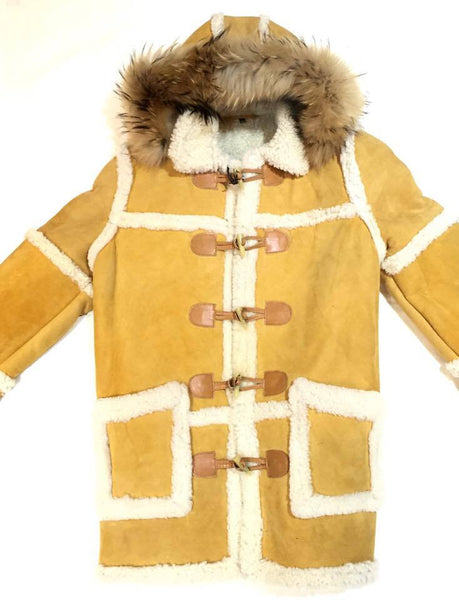 Jakewood Mustard Duffle Shearling Coat with Mink Hood