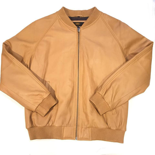 G-Gator Tan Leather Lambskin Varsity Jacket