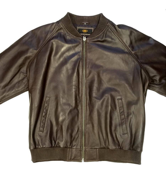 G-Gator Men's Chocolate Leather Lambskin Varsity Jacket
