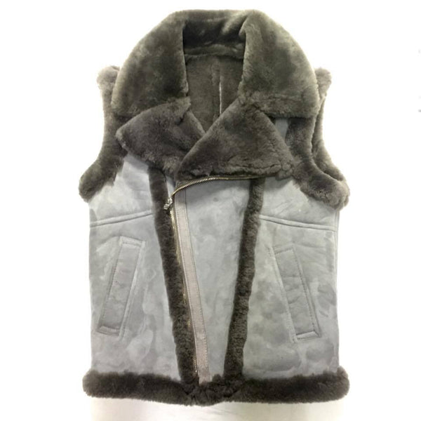 Jakewood Grey Suede Shearling Vest - Dudes Boutique