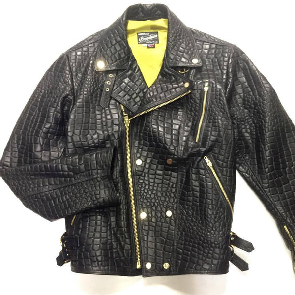 G-Gator Alligator Embossed Lambskin Moto Jacket