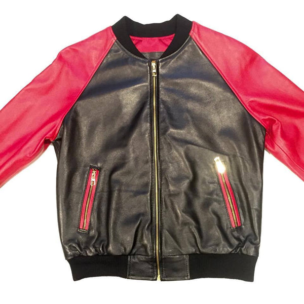 G-Gator Black/Red Lambskin Varsity Jacket