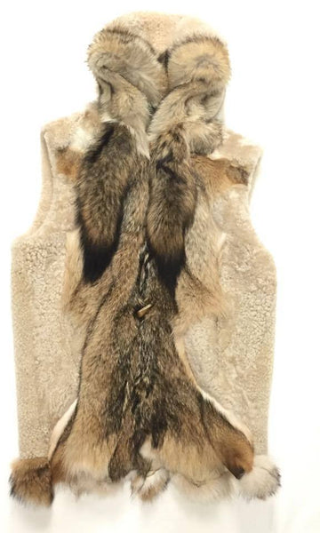 Jakewood Men's Natural Plush Fox Tail Shearling Vest - Dudes Boutique