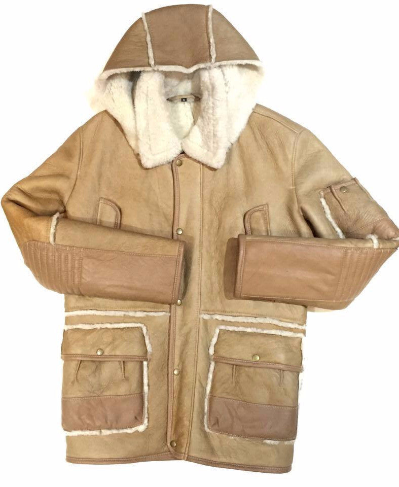 Jakewood - Brown & Cream Shearling With Hood - Dudes Boutique
