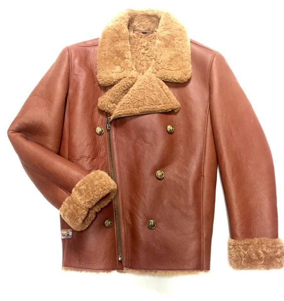 Jakewood Brown Double Breast Biker Style Shearling