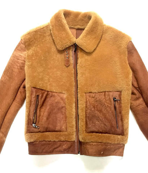 Jakewood Dune Suede Finish Shearling Bomber Jacket - Dudes Boutique