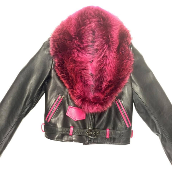 G-Gator Ladies Black & Pink Fox Collar Lamskin Biker Jacket