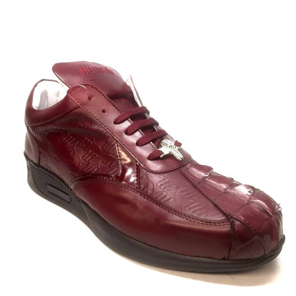 Mauri M770/1 Wine Crocodile Tail Sneakers - Dudes Boutique