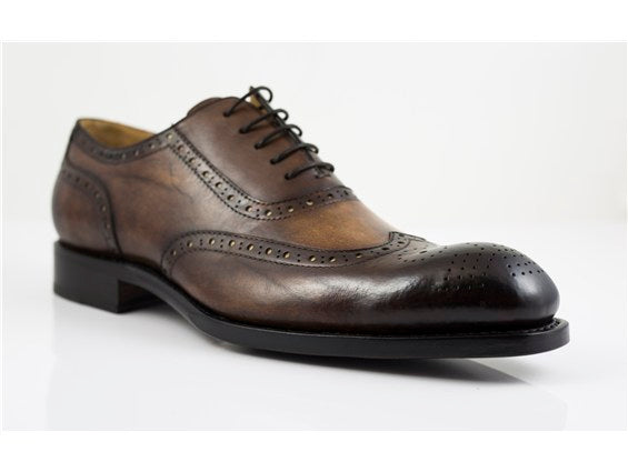 Ugo Vasare Oxford Burnish Brown Wingtip Dress Shoes