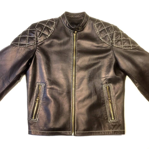 Jakewood Black Quilted Bomber Leather Jacket