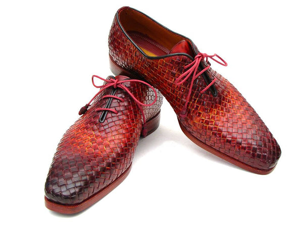 Paul Parkman Bordeaux & Tobacco Woven Leather Oxfords - Dudes Boutique - 1