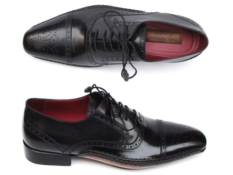 Paul Parkman Captoe Oxfords Black Shoes - Dudes Boutique