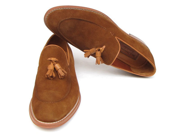 Paul Parkman Men's Tassel Loader Suede Shoes [ Tobacco , Green, Or Brown ] - Dudes Boutique - 1