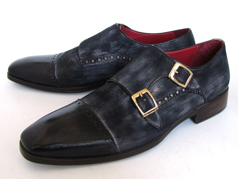 Paul Parkman Navy Suede Captoe Double Monkstraps - Dudes Boutique - 1