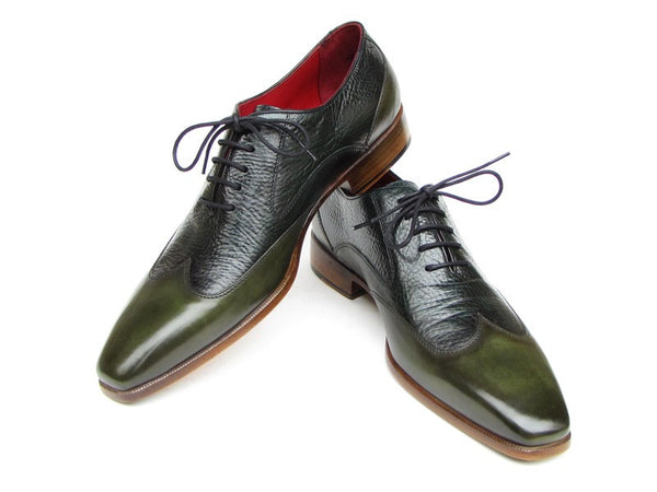 Paul Parkman Wingtip Floater Leather Green Oxfords - Dudes Boutique - 1