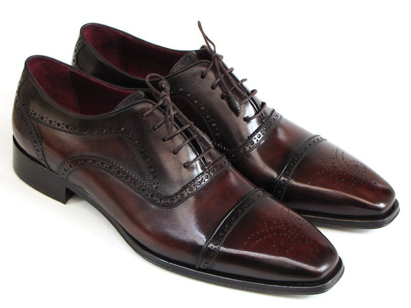 Paul Parkman Captoe Bordeaux & Brown Hand-Painted Oxfords - Dudes Boutique - 1