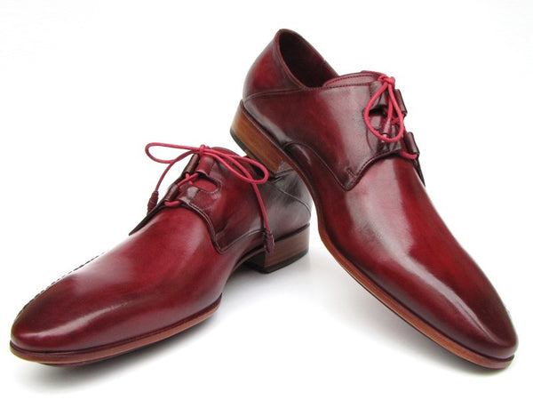 Paul Parkman Ghillie Lacing Side Handsewn Dress Shoes- Burgundy Leather Upper And Leather Sole - Dudes Boutique - 1