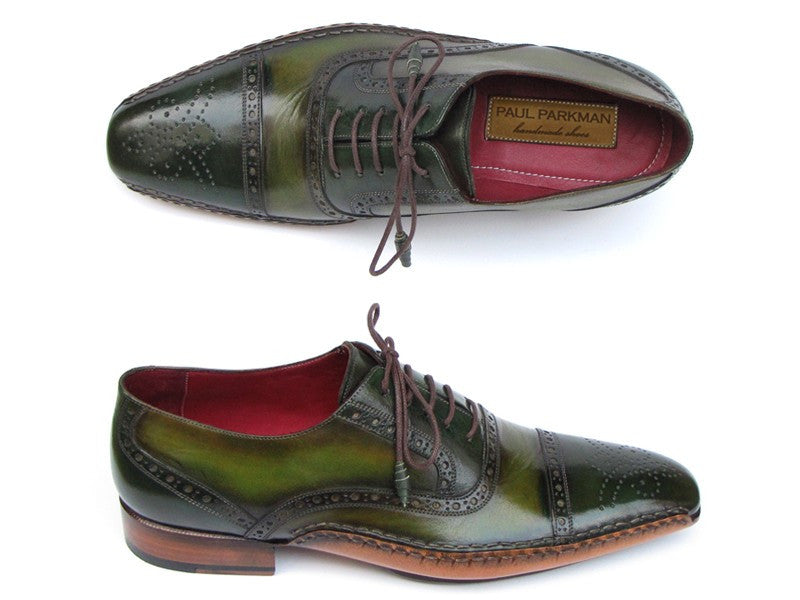Paul Parkman Men's Side Handsewn Captoe Oxfords- Green/ Yellow Leather Upper and Leather Sole - Dudes Boutique