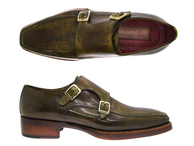 Paul Parkman Men's Double Monkstrap Goodyear Welted Green Shoes - Dudes Boutique