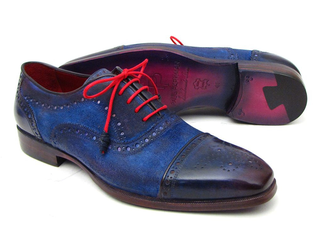Paul Parkman Men's Captoe Oxfords Blue Suede - Dudes Boutique - 1