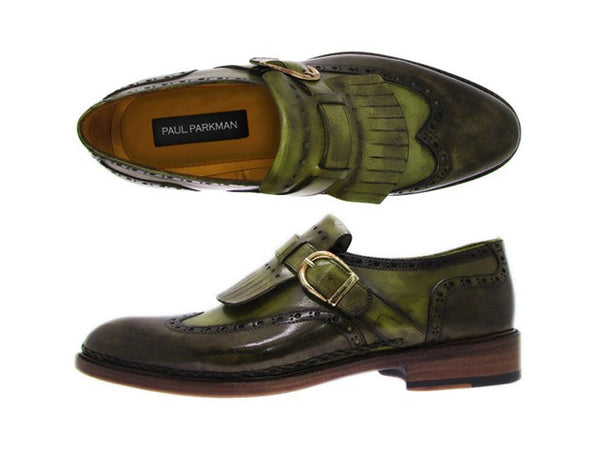 Paul Parkman Wingtip Monkstrap Brogues Green Hand Painted Leather Upper With Double Leather Sole - Dudes Boutique