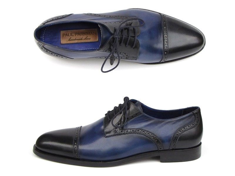 Paul Parkman Parliament Blue Derby Shoes Leather Upper And Leather Sole - Dudes Boutique - 1