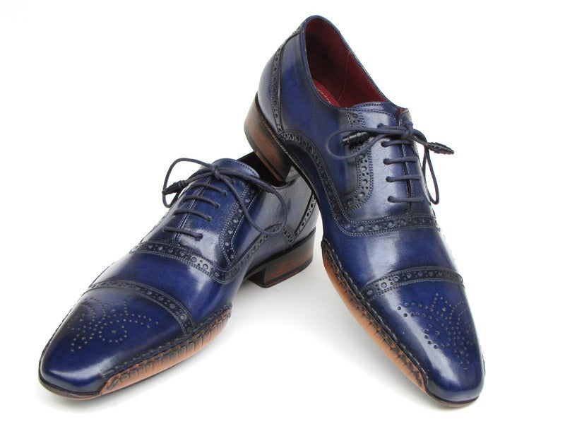 Paul Parkman Men's Captoe Navy Blue Hand Painted Oxfords - Dudes Boutique