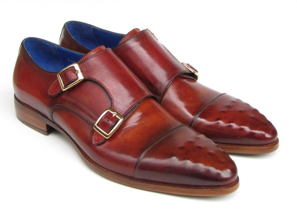 Paul Parkman Men's Double Monkstrap Burgundy Leather - Dudes Boutique - 1