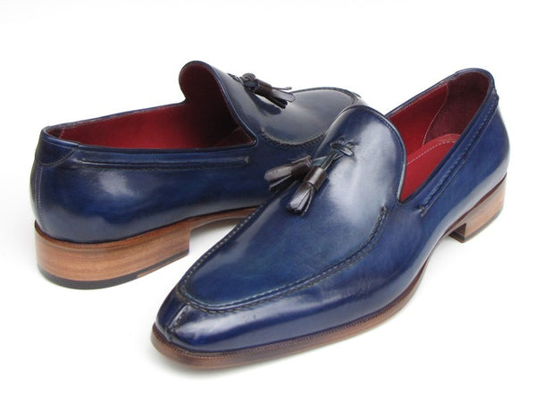 Paul Parkman Blue Hand Painted Leather Tassel Loafer - Dudes Boutique - 1