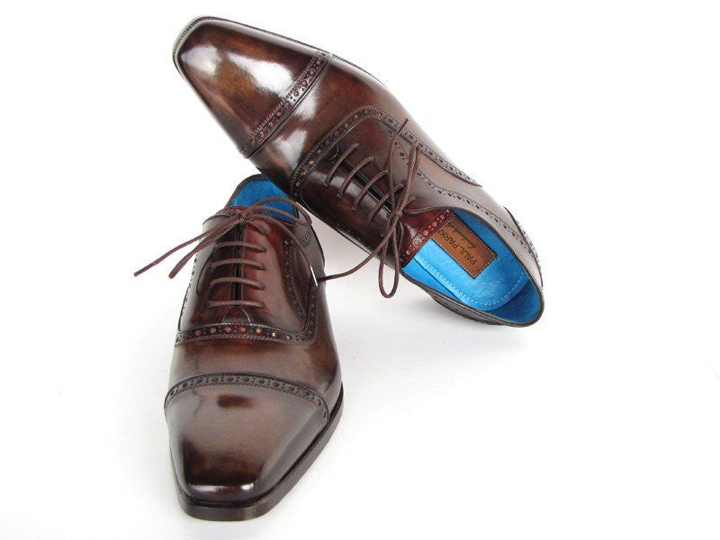 Paul Parkman Captoe Oxfords Anthracite Brown Hand-Painted Leather - Dudes Boutique - 1