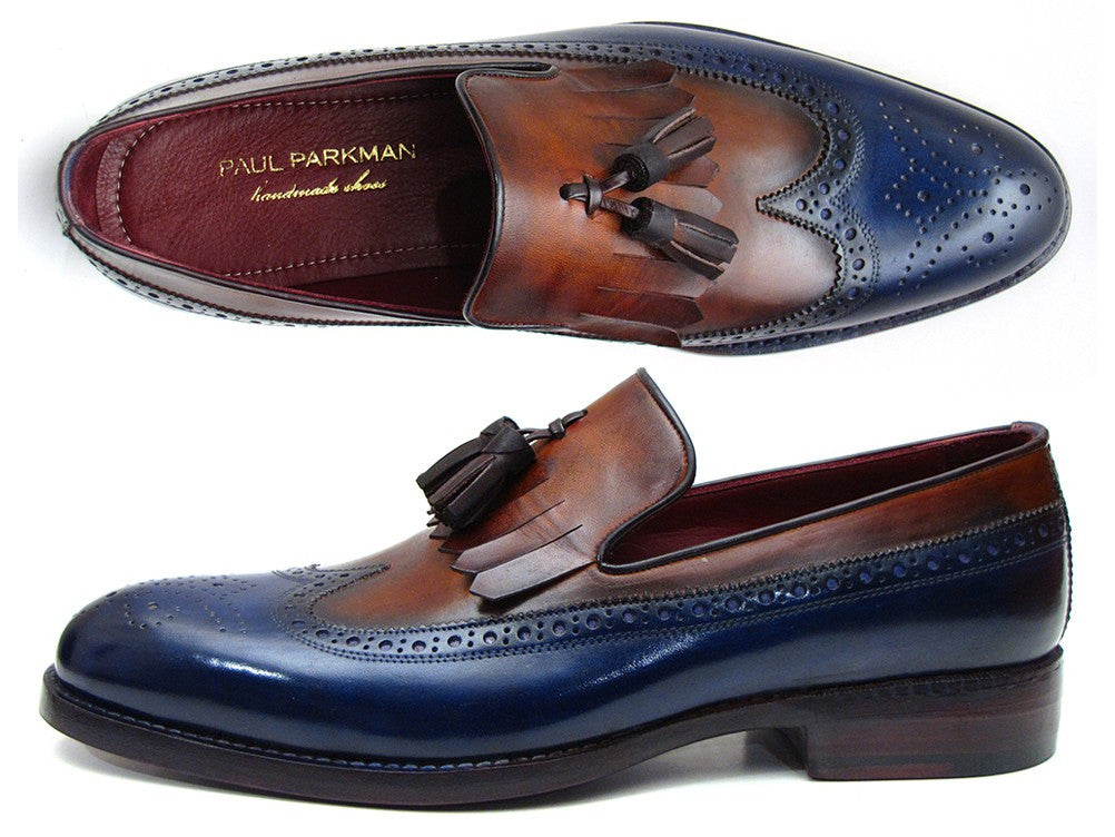 Paul Parkman Navy & Tobacco Kiltie Tassel Loafer - Dudes Boutique