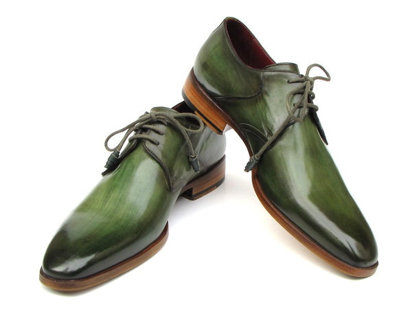 Paul Parkman Green Hand-Painted Derby Shoes Leather Upper & Leather Sole - Dudes Boutique - 1