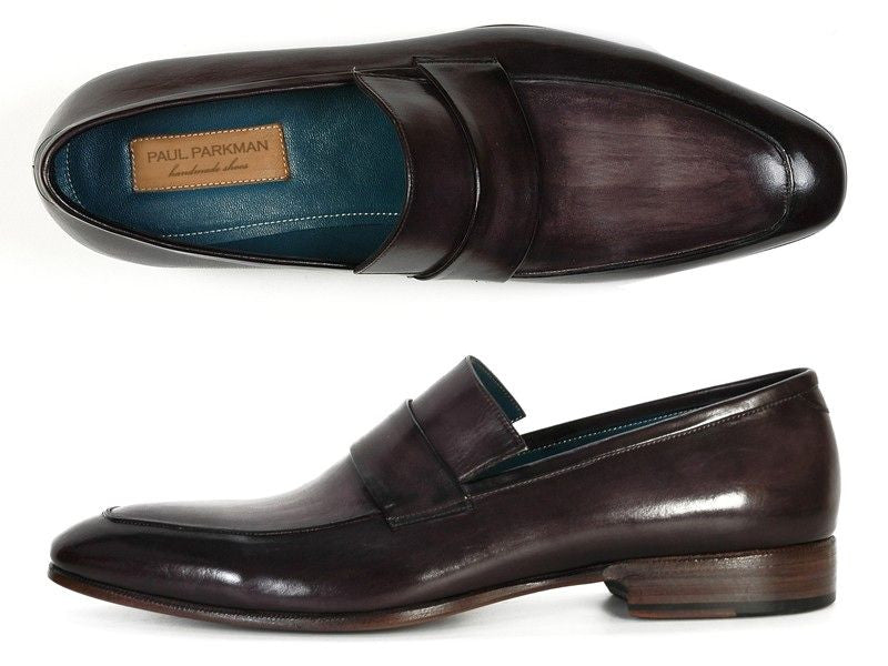 Paul Parkman Men's Loafer Black & Gray Hand-Painted Leather Upper With Leather Sole - Dudes Boutique - 1
