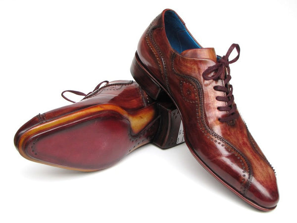 Paul Parkman Handmade Lace-Up Casual Shoes For Men Brown Handpainted Leather Upper And Leather Sole - Dudes Boutique - 1