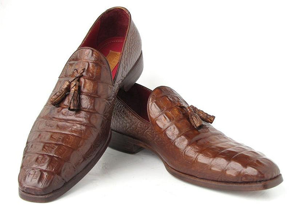 Paul Parkman Men's Brown Crocodile Embossed Calfskin Tassel Loafers
