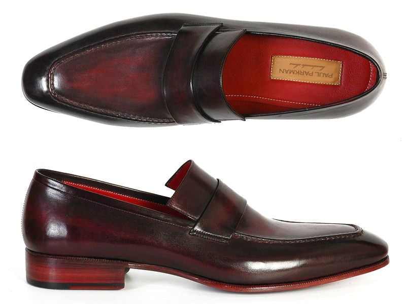 Paul Parkman Men's Loafer Purple & Black Hand-Painted Leather Upper With Leather Sole - Dudes Boutique - 1
