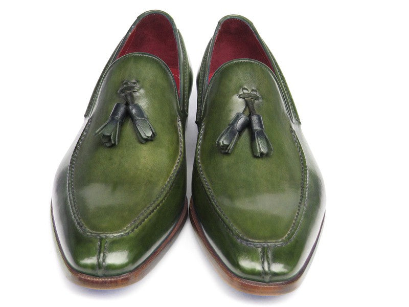 Paul Parkman Green Hand Painted Leather Loafer With Tassel - Dudes Boutique