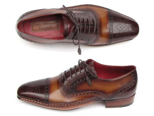 Paul Parkman Captoe Oxfords Brown Hand Pained Shoes - Dudes Boutique - 1