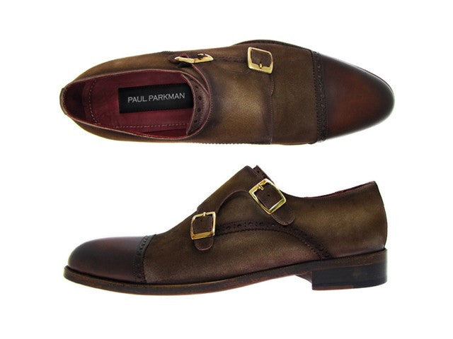 Paul Parkman Double Monkstrap Captoe Dress Shoe- Brown/ Beige Suede Upper And Leather Sole - Dudes Boutique