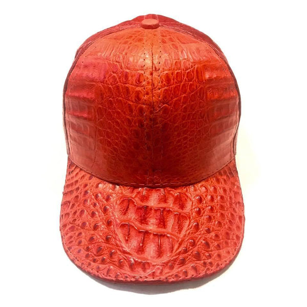 Kashani Red Alligator & Ostrich Quill Strapback Hat