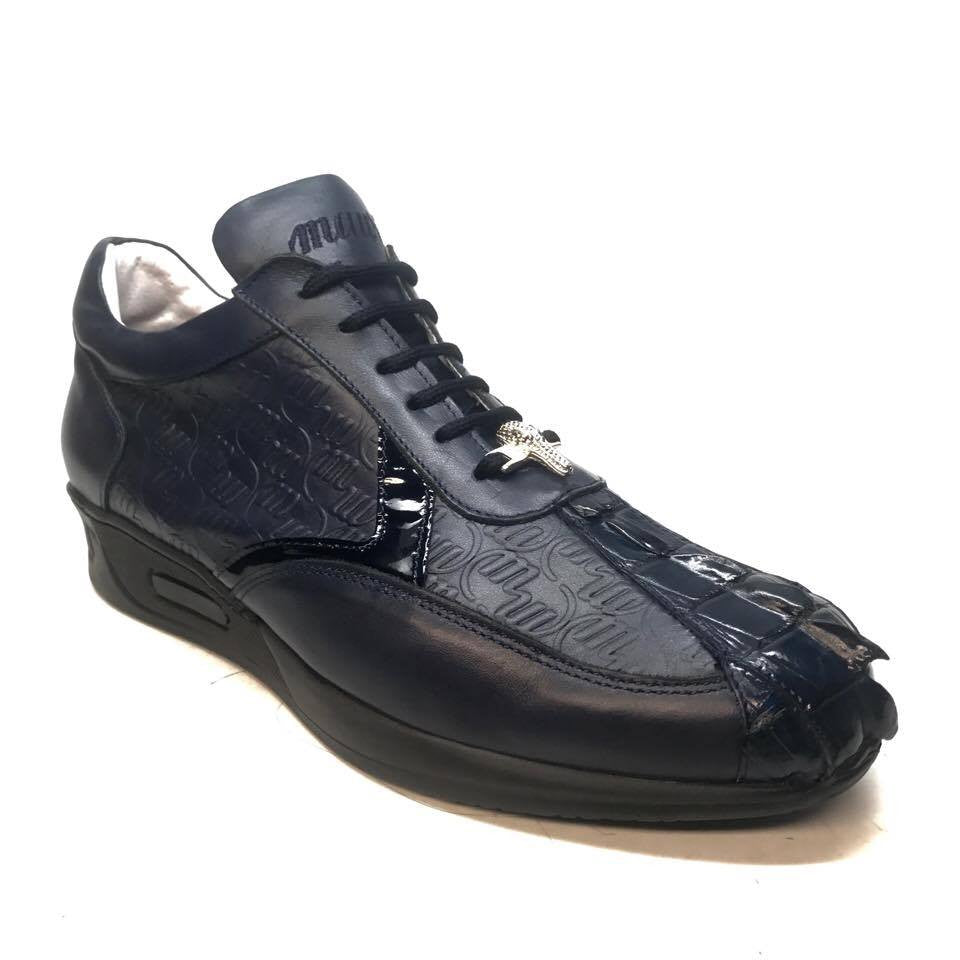 Mauri M770/1 Navy Blue Crocodile Tail Sneakers