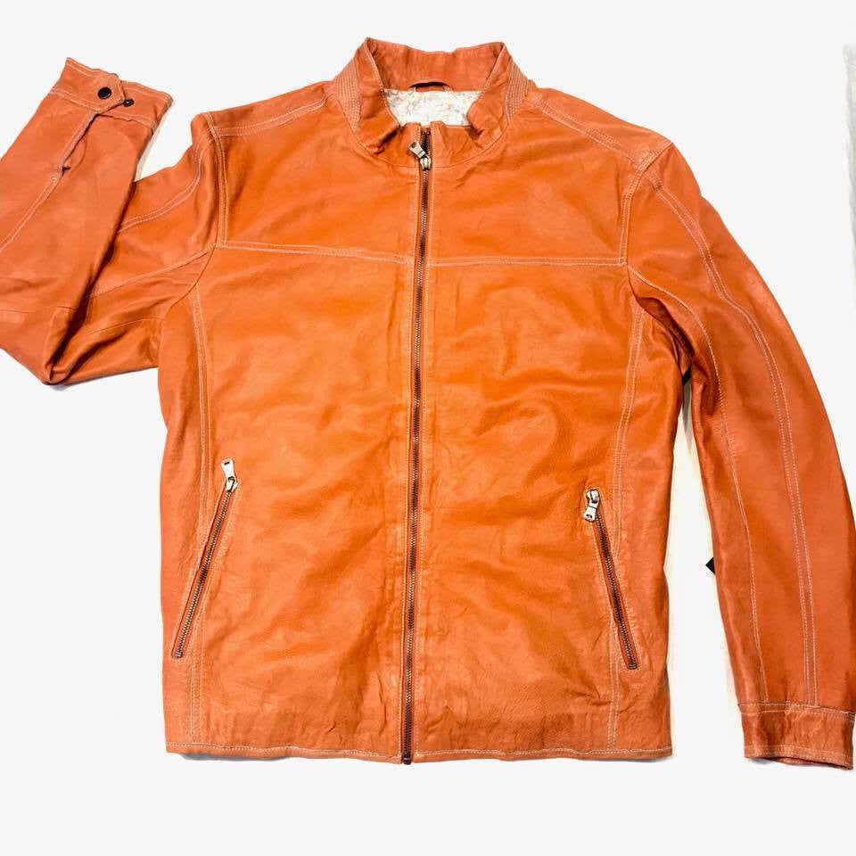 Missani Le Collezioni Men`s Burnt Orange Leather Jacket - Dudes Boutique