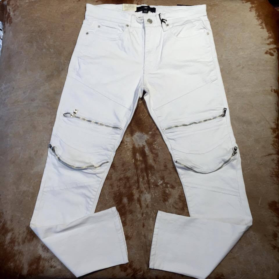 Jordan Craig JM3067 Men's White Biker Zipper Jeans - Dudes Boutique