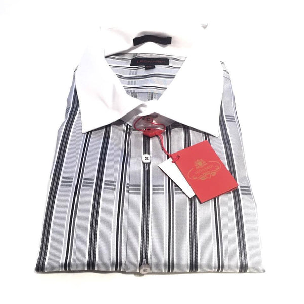 Leonardi 'Silver stripes' Button Up Shirt - Dudes Boutique