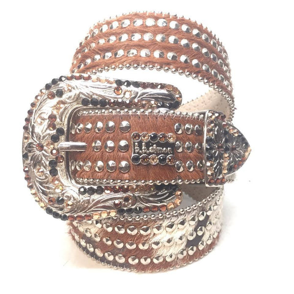 "B.B. Simon ""Triple Studded Pony Hair"" Swarovski Crystal Belt"