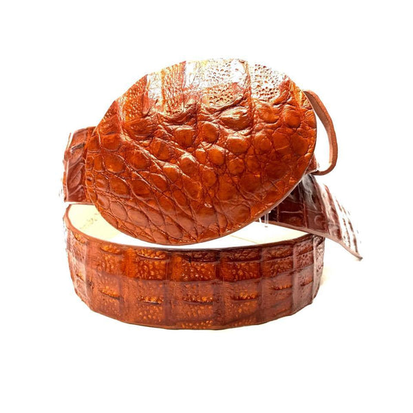 Los Altos Cognac Crocodile Full Skin Belt