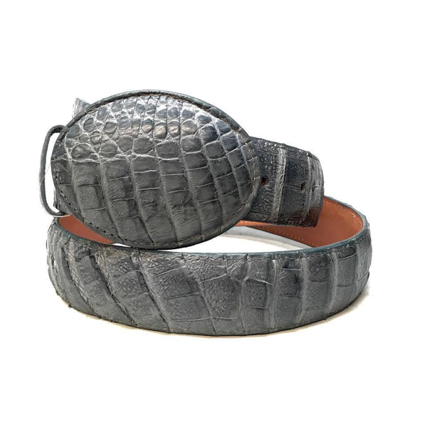 Los Altos Gray Crocodile Full Skin Belt
