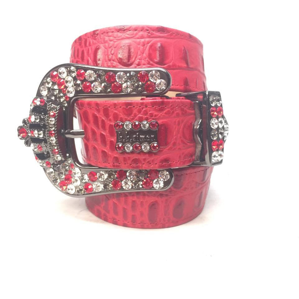 "B.B. Simon ""Peppermint Red Croc"" Swarovski Crystal Belt - Dudes Boutique"