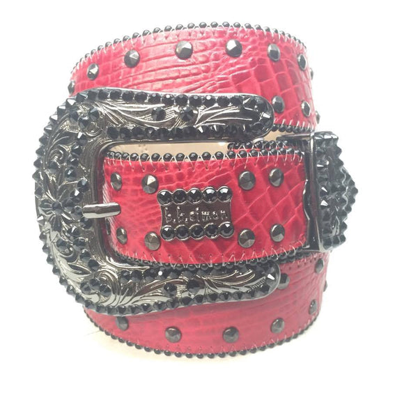 "B.B. Simon ""Red Croc Belly"" Swarovski Crystal Belt"