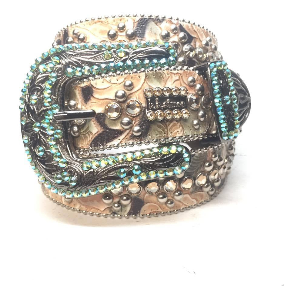 "B.B. Simon ""Floral Emerald"" Crystal Belt - Dudes Boutique"